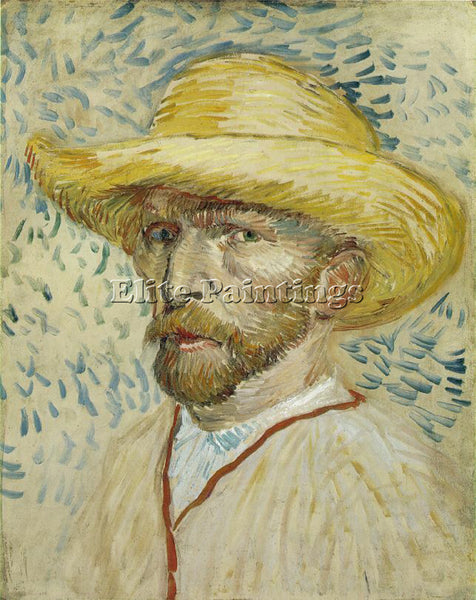 VAN GOGH SELF PORTRAIT WITH STRAW HAT ARTIST PAINTING REPRODUCTION HANDMADE OIL