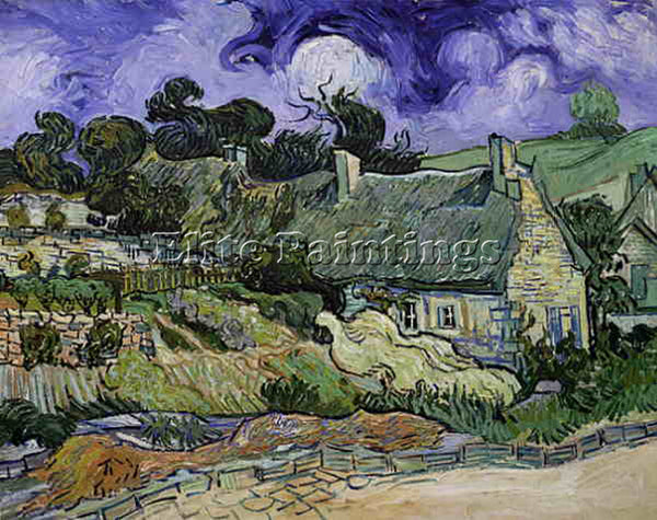 VAN GOGH THATCHED COTTAGES AT CORDEVILLE ARTIST PAINTING REPRODUCTION HANDMADE