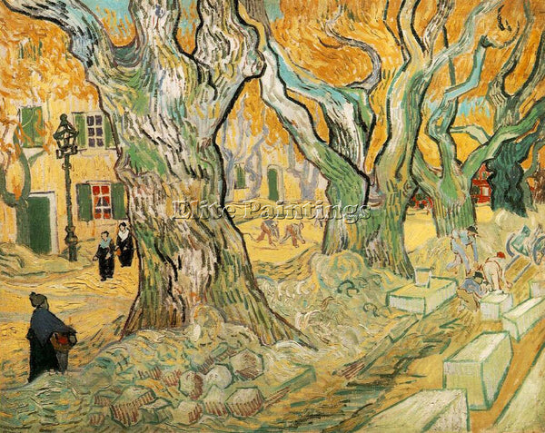 VAN GOGH THE ROAD MENDERS ARTIST PAINTING REPRODUCTION HANDMADE OIL CANVAS REPRO