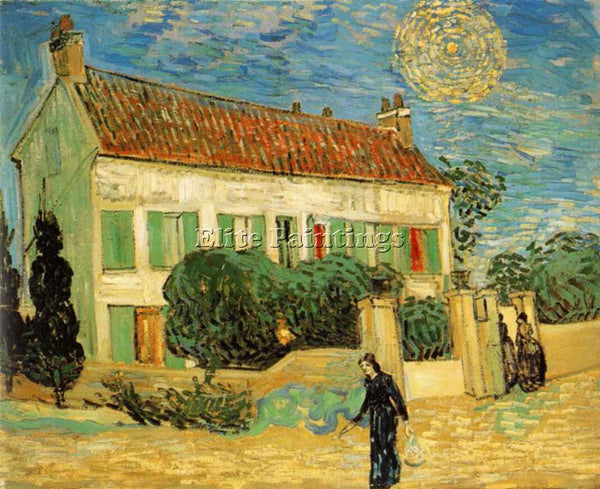 VAN GOGH WHITE HOUSE AT NIGHT ARTIST PAINTING REPRODUCTION HANDMADE CANVAS REPRO