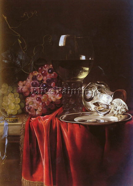 HOLLAND VAN AELST WILLEM STILL LIFE GRAPES ROEMER SILVER EWER AND PLATE PAINTING