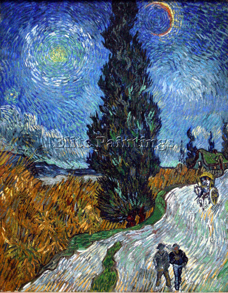 VAN GOGH COUNTRY ROAD IN PROVENCE BY NIGHT 2 ARTIST PAINTING HANDMADE OIL CANVAS