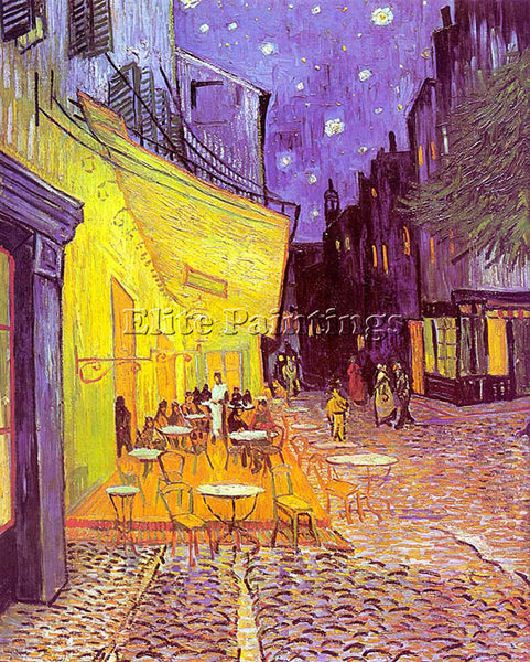 VINCENT VAN GOGH CAFE TERRACE AT NIGHT ARTIST PAINTING REPRODUCTION HANDMADE OIL