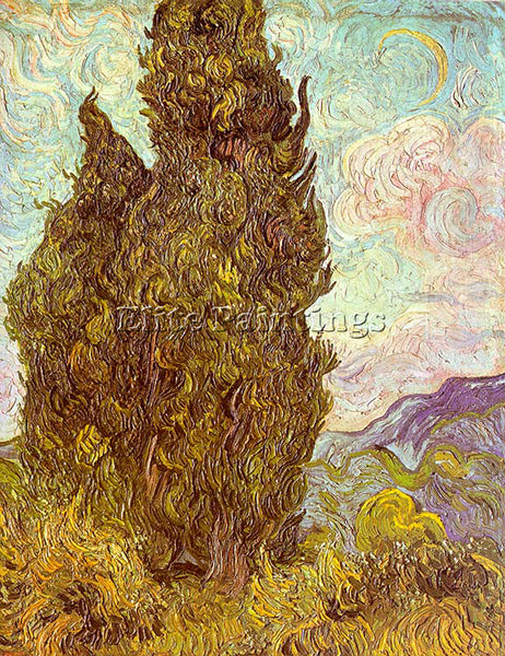 VINCENT VAN GOGH TWO CYPRESSES ARTIST PAINTING REPRODUCTION HANDMADE OIL CANVAS