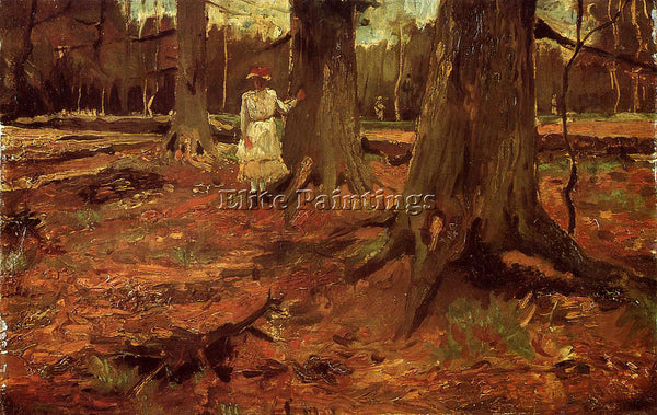 VINCENT VAN GOGH A GIRL IN WHITE IN THE WOODS ARTIST PAINTING REPRODUCTION OIL