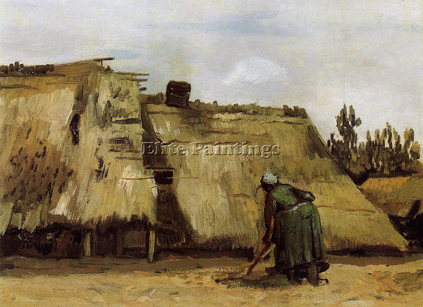 VINCENT VAN GOGH COTTAGE WITH WOMAN DIGGING ARTIST PAINTING HANDMADE OIL CANVAS
