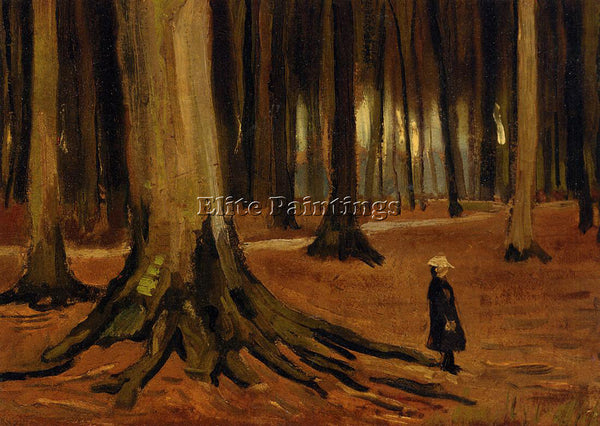 VINCENT VAN GOGH GIRL IN THE WOODS ARTIST PAINTING REPRODUCTION HANDMADE OIL ART