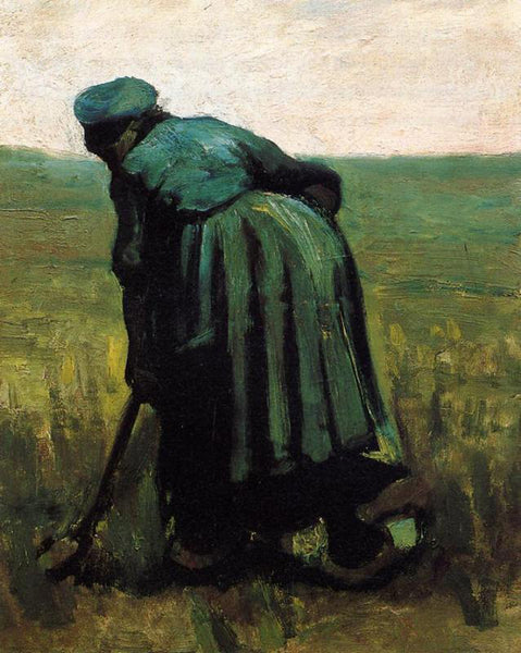 VINCENT VAN GOGH PEASANT WOMAN DIGGING ARTIST PAINTING REPRODUCTION HANDMADE OIL