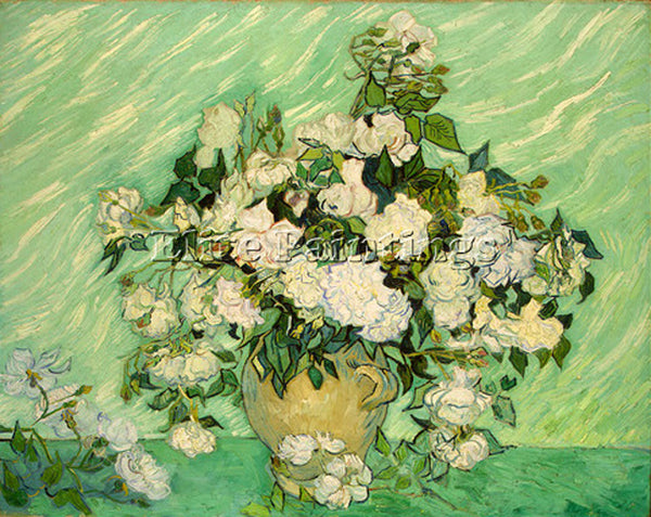 VINCENT VAN GOGH ROSES 1890 ARTIST PAINTING REPRODUCTION HANDMADE OIL CANVAS ART