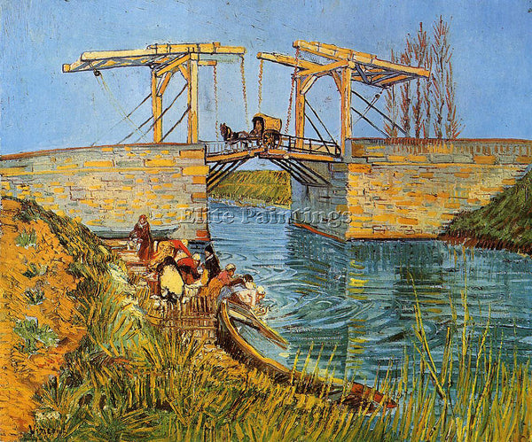 VINCENT VAN GOGH THE LANGLOIS BRIDGE AT ARLES WITH WOMEN WASHING ARTIST PAINTING