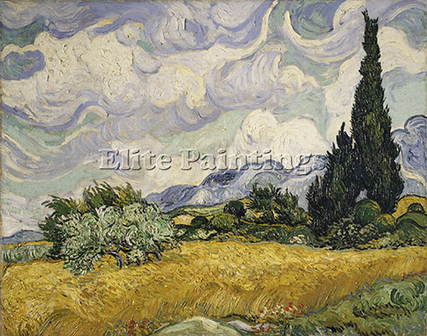 VINCENT VAN GOGH WHEAT FIELD WITH CYPRESSES 1889 ARTIST PAINTING HANDMADE CANVAS