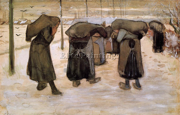 VINCENT VAN GOGH WOMAN MINERS CARRYING COAL ARTIST PAINTING HANDMADE OIL CANVAS