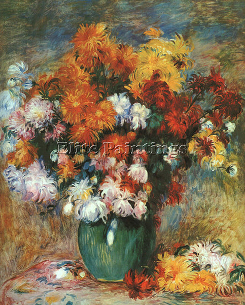PIERRE AUGUSTE RENOIR VASE OF CHRYSANTHEMUMS ARTIST PAINTING HANDMADE OIL CANVAS