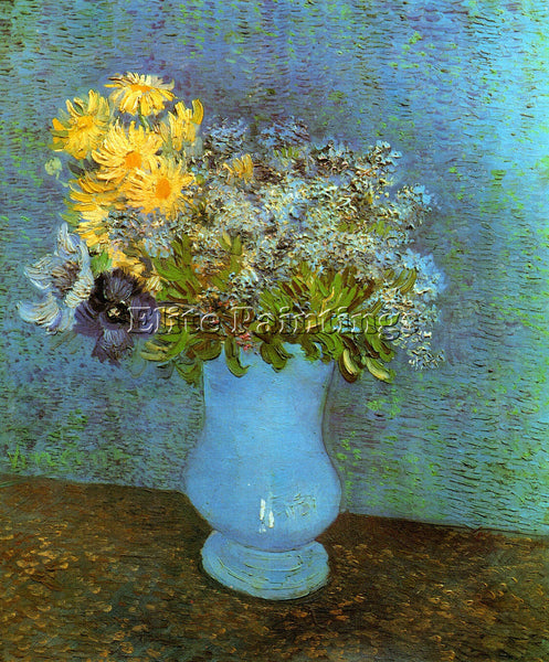 VAN GOGH VASE WITH LILACS DAISIES AND ANEMONES ARTIST PAINTING REPRODUCTION OIL