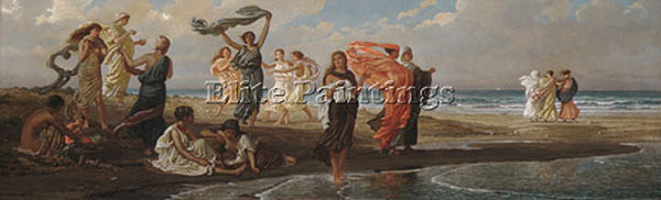 VEDDER ELIHU GREEK GIRLS BATHING ARTIST PAINTING REPRODUCTION HANDMADE OIL REPRO