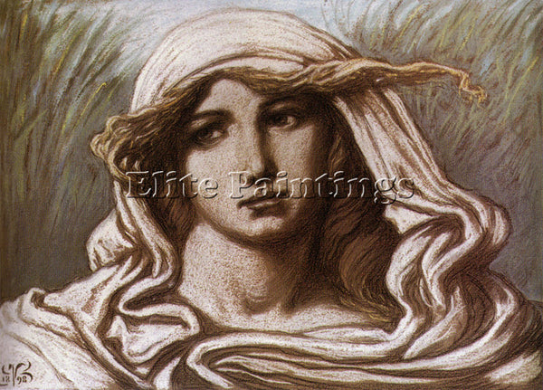 VEDDER ELIHU HEAD OF A YOUNG WOMAN 1900 ARTIST PAINTING REPRODUCTION HANDMADE
