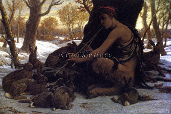 VEDDER ELIHU MARSYAS ENCHANTING THE HARES ARTIST PAINTING REPRODUCTION HANDMADE