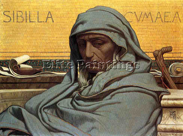 VEDDER ELIHU SIBILIA CUMAEA ARTIST PAINTING REPRODUCTION HANDMADE OIL CANVAS ART