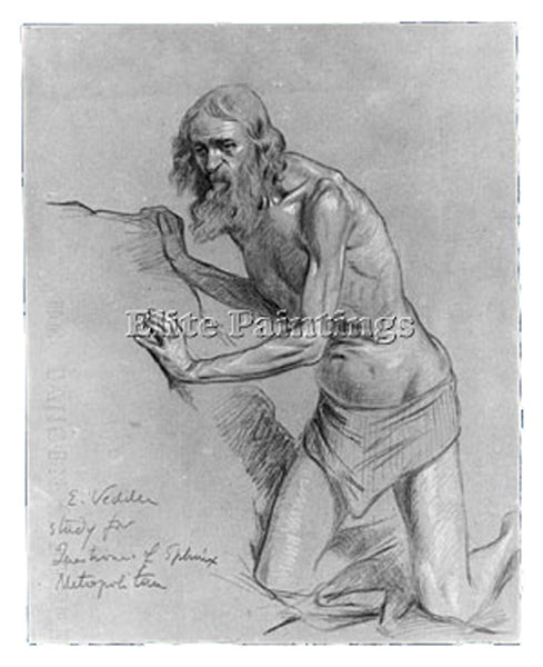 VEDDER ELIHU STUDY FOR THE QUESTION OF THE SPHINX ARTIST PAINTING REPRODUCTION