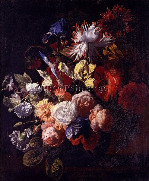 VERELST SIMON PIETERSZ STILL LIFE OF IRISES POPPIES ROSES TULIPS ARTIST PAINTING