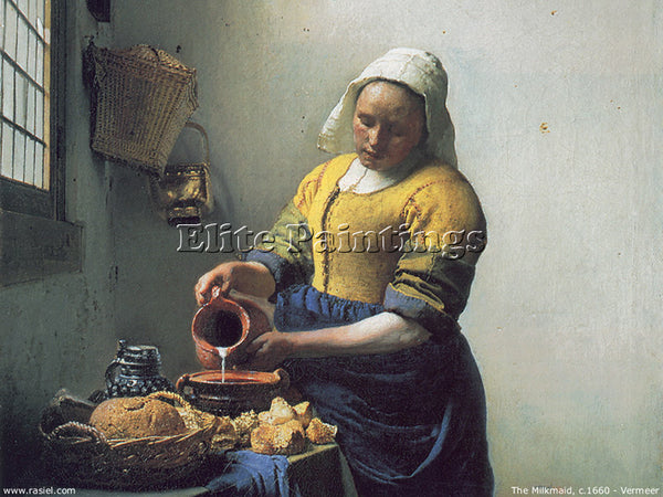 JAN VERMEER THE MILKMAID ARTIST PAINTING REPRODUCTION HANDMADE CANVAS REPRO WALL
