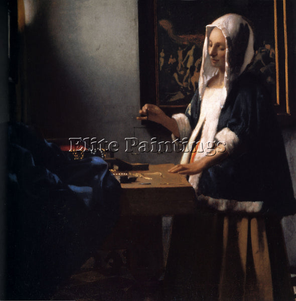 JAN VERMEER WOMAN WITH A BALANCE ARTIST PAINTING REPRODUCTION HANDMADE OIL REPRO
