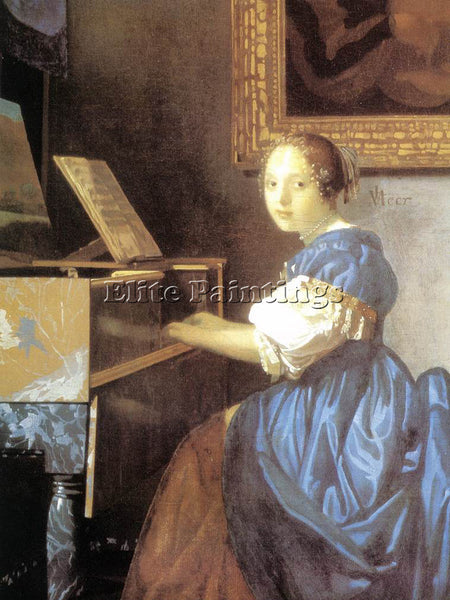 JOHANNES VERMEER LADY SEATED AT A VIRGINAL DETAIL1 ARTIST PAINTING REPRODUCTION