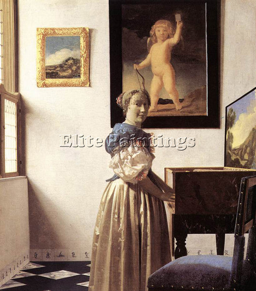 JOHANNES VERMEER LADY STANDING AT A VIRGINAL ARTIST PAINTING HANDMADE OIL CANVAS