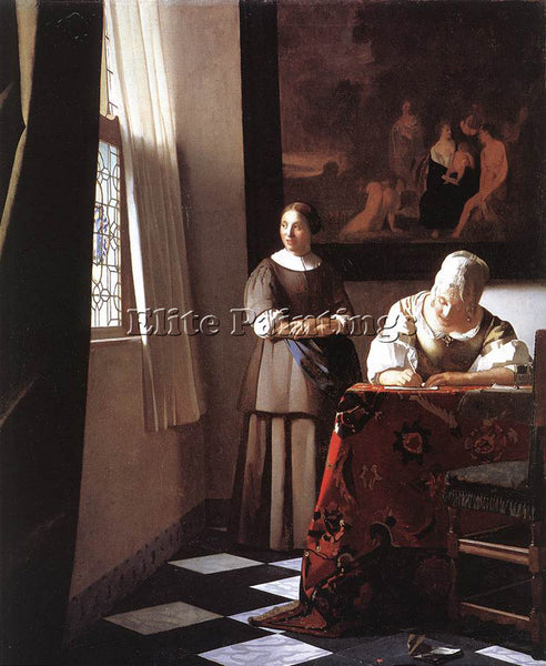 JOHANNES VERMEER LADY WRITING A LETTER WITH HER MAID 1 ARTIST PAINTING HANDMADE