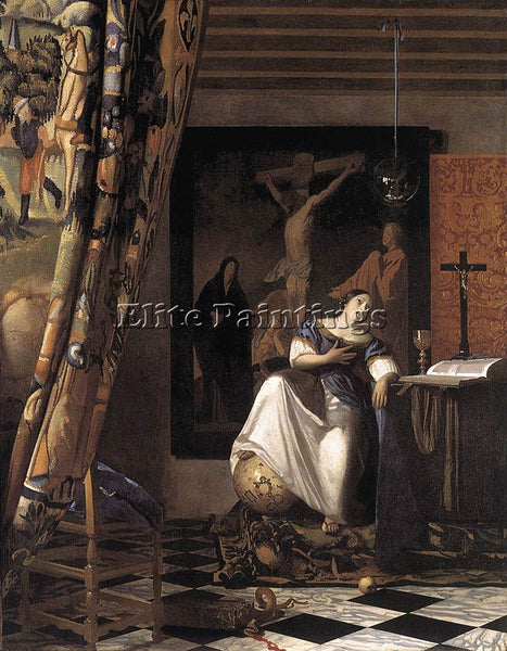 JOHANNES VERMEER THE ALLEGORY OF THE FAITH ARTIST PAINTING REPRODUCTION HANDMADE