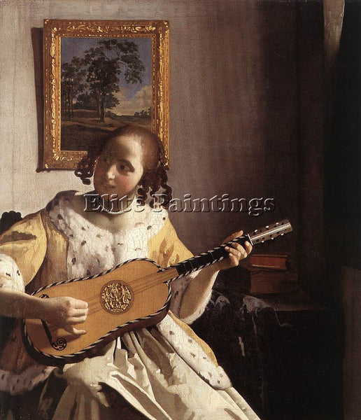 JOHANNES VERMEER GUITAR PLAYER ARTIST PAINTING REPRODUCTION HANDMADE OIL CANVAS