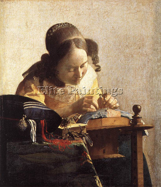 JOHANNES VERMEER LACEMAKER ARTIST PAINTING REPRODUCTION HANDMADE OIL CANVAS DECO