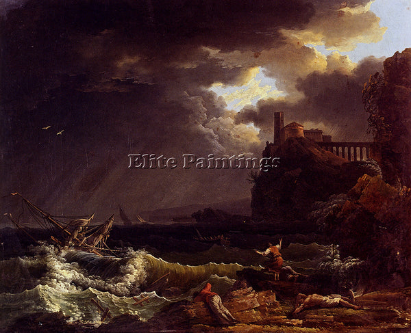 VERNET CLAUDE-JOSEPH A SHIPWRECK IN A STORMY SEA BY THE COAST PAINTING HANDMADE