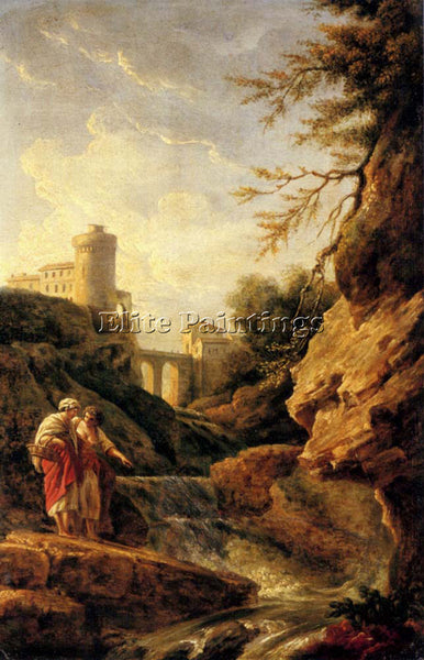 VERNET CLAUDE-JOSEPH TWO FEMALE PEASANTS BY A WATERFALL ARTIST PAINTING HANDMADE