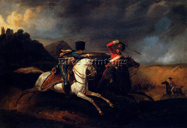 HORACE VERNET TWO SOLDIERS ON HORSEBACK ARTIST PAINTING REPRODUCTION HANDMADE