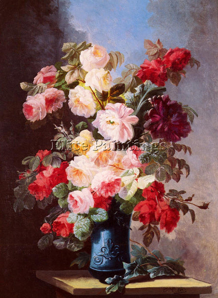 ITALIAN VIARD GEORGES STILL LIFE WITH ROSES AND PEONIES IN BLUE VASE OIL CANVAS
