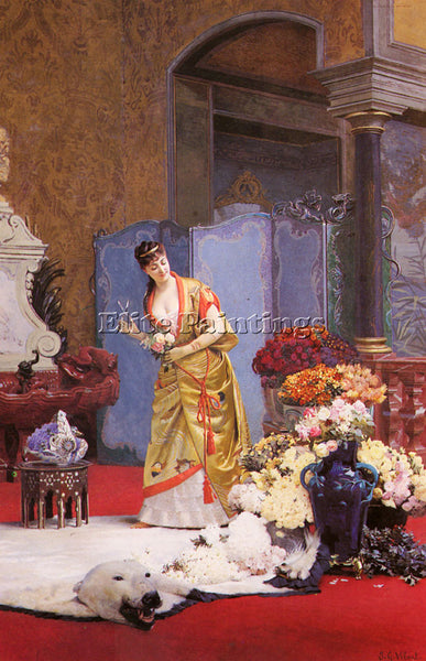 JEHAN GEORGES VIBERT AUTUMN FLOWERS ARTIST PAINTING REPRODUCTION HANDMADE OIL