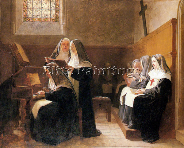 JEHAN GEORGES VIBERT THE CONVENT CHOIR ARTIST PAINTING REPRODUCTION HANDMADE OIL