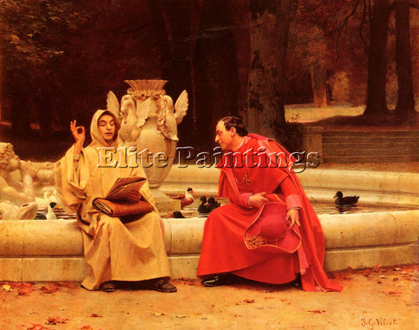 JEHAN GEORGES VIBERT A FINE POINT ARTIST PAINTING REPRODUCTION HANDMADE OIL DECO