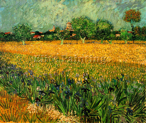 VAN GOGH VIEW OF ARLES WITH IRISES IN THE FOREGROUND ARTIST PAINTING HANDMADE