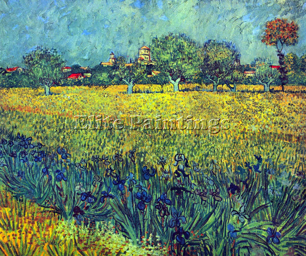 VAN GOGH VIEW OF ARLES WITH IRISES ARTIST PAINTING REPRODUCTION HANDMADE OIL ART