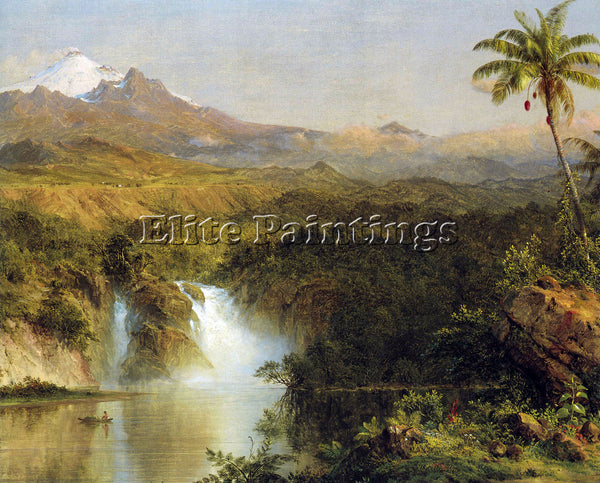 HUDSON RIVER VIEW OF COTOPAXI ECUADOR DETAIL BY FREDERICK EDWIN CHURCH PAINTING