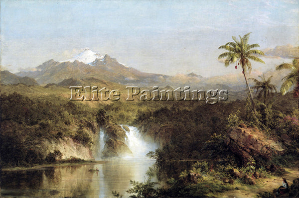 HUDSON RIVER VIEW OF COTOPAXI ECUADOR BY FREDERICK EDWIN CHURCH ARTIST PAINTING