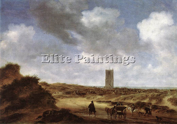 SALOMON VAN RUYSDAEL VIEW OF EGMOND AAN ZEE ARTIST PAINTING HANDMADE OIL CANVAS