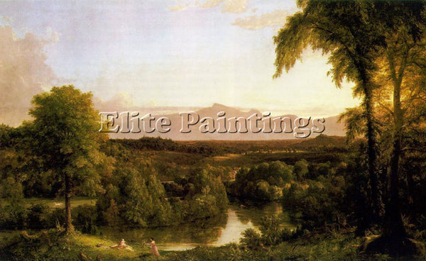 VALLEY OF THE VAUCLUSE STREAM CASTLE LANDSCAPE PAINTING BY THOMAS COLE REPRO