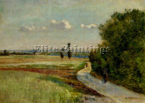 VIGNON ALFRED PAUL A PATH IN A PASTORAL LANDSCAPE ARTIST PAINTING REPRODUCTION