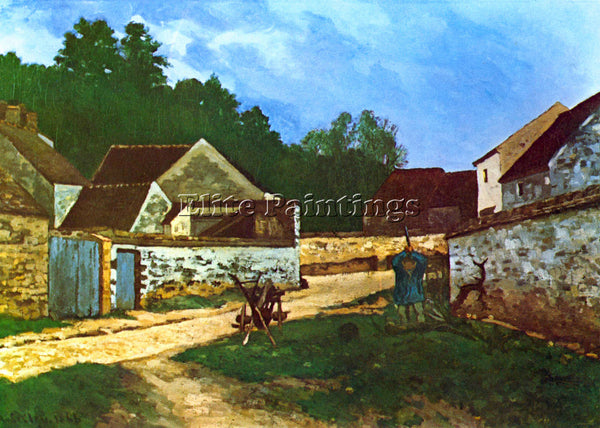 ALFRED SISLEY VILLAGE STREET IN MARLOTTE ARTIST PAINTING REPRODUCTION HANDMADE