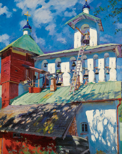 RUSSIAN VINOGRADOV SERGEI ARSENIEVICH BELFRY ARTIST PAINTING HANDMADE OIL CANVAS