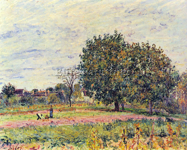 ALFRED SISLEY WALNUT TREES IN THE SUN IN EARLY OCTOBER ARTIST PAINTING HANDMADE