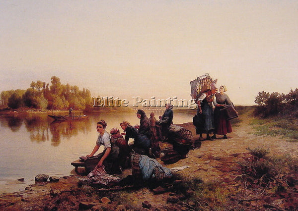 DANIEL RIDGWAY KNIGHT WASH DAY ARTIST PAINTING REPRODUCTION HANDMADE OIL CANVAS